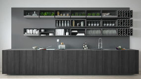 Scandinavian gray kitchen with wooden and gray details, minimali Stock Image