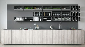 Scandinavian gray kitchen with wooden and gray details, minimali Stock Images