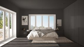 Scandinavian gray minimalist bedroom with panoramic window, fur carpet and herringbone parquet, modern architecture interior desig. N stock illustration