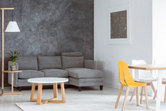 Scandinavian gray and white decor stock image