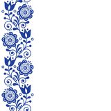 Scandinavian greeting card design, folk art retro vector design, ornament with flowers in navy blue - vertical stripe or border Stock Photos