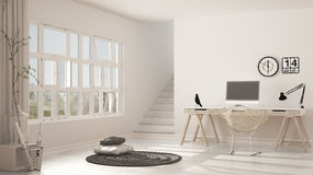Scandinavian home office, loft workplace, minimalist interior de. Sign Royalty Free Stock Photos