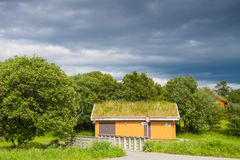 Scandinavian house with grass covered roof Stock Photos