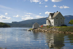 Scandinavian house on hardangerfjord Stock Photography