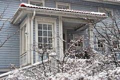 Scandinavian house in winter Stock Photos