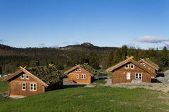 Scandinavian houses in the mountains Stock Images