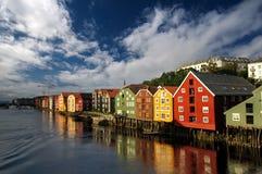 Scandinavian houses on the water, Trondheim, Stock Photos