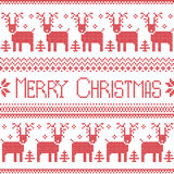 Scandinavian inspired Merry Christmas nordic pattern with  2 rows of  reindeer patten, snowflakes, trees, decorative ornaments in Royalty Free Stock Photos