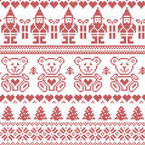 Scandinavian inspired Nordic xmas seamless pattern with elf, stars, teddy bears, snow, xmas  trees, snowflakes, stars, snow, decor Stock Image