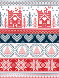 Scandinavian,  inspired by Norwegian Christmas and festive winter seamless pattern in cross stitch with gingerbread house. Christmas tree, heart, reindeer Stock Photo