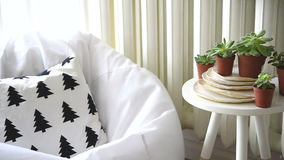 Scandinavian interior home decor, succulents and cozy chair stock video footage