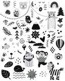 Scandinavian kids doodles elements pattern black and white monochrome set, wild hand drawn animals bear, cat, monkey, dog, house, stock illustration