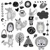 Scandinavian kids doodles elements pattern black and white monochrome set, wild hand drawn animals fox, cat, rabbit, bear, hare, vector illustration