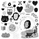 Scandinavian kids doodles elements pattern black and white monochrome set, wild hand drawn animals moon, bear, hedgehog, penguin, stock illustration