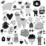 Scandinavian kids doodles elements pattern set color wild animal hand drawn bear lamma cat`s monkey, girl, turtle, lamb, house, vector illustration