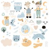 Scandinavian kids doodles elements pattern set color wild animal hand drawn boy cloud caharcters moon fox cat owl giraffe, glasses vector illustration
