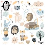 Scandinavian kids doodles elements pattern set of cute color wild animal and characters: penguin, hedgehog, fox, hare, rabbit, stock illustration