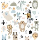 Scandinavian kids doodles elements pattern set of cute color wild animal and characters: zebra, bear, deer, squirrel, cat, rabbit stock illustration