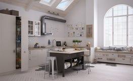 Scandinavian kitchen. Interior design, 3d illustration Royalty Free Stock Images