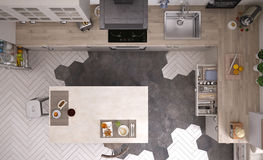 Scandinavian kitchen. Interior design, 3d illustration Royalty Free Stock Photography