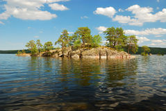 Scandinavian lake with small island Royalty Free Stock Photo
