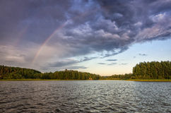 Scandinavian lake after storm Royalty Free Stock Images