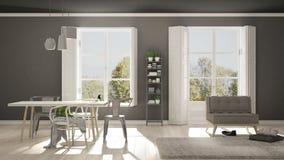 Scandinavian living room with big windows, garden panorama in ba Stock Photo