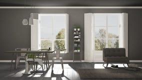 Scandinavian living room with big windows, garden panorama in ba Stock Photography