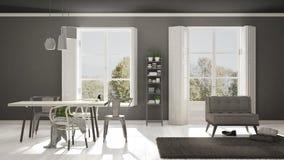 Scandinavian living room with big windows, garden panorama in ba Stock Image