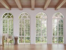 Scandinavian living room 3d rendering image. The Rooms have wooden floors and ceilings with white walls .There are arch shape window overlooking to the nature royalty free illustration