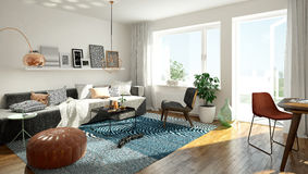 Scandinavian living room stock illustration