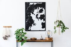 Free Scandinavian Living Room With Wooden Console Table And Map Poster. Stock Photography - 176624892