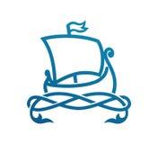 Scandinavian Longship Drakkar. Vector Illustration of Scandinavian Longship Drakkar isolated on white background. Symbol of Sea Travel with medieval sailboat and Stock Image