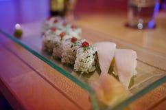 Scandinavian Maki. With marinated herring and dill, nigiri with butterfish stock image