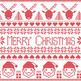 Scandinavian Merry Christams pattern with Santa Claus, xmas presents, reindeers, decorative ornaments,  snowflakes, stars, xmas tr Royalty Free Stock Photo