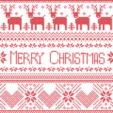 Scandinavian merry christmas sign inspired by  nordic pattern in cross stitch with reindeer, snowflake, tree, stars, decorative fl Royalty Free Stock Photography