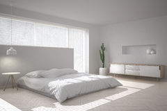 Scandinavian minimal bedroom. 3d illustration Royalty Free Stock Image
