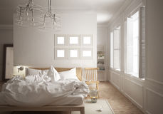 Scandinavian minimal bedroom. 3d illustration Stock Photo