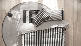 Scandinavian minimalist bedroom, bed with side table top view, c Stock Photos