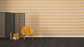 Scandinavian minimalist gray background with armchair, screen, c. Andles and decor on parquet flooring, orange herringbone wallpaper, living room interior design Stock Photos