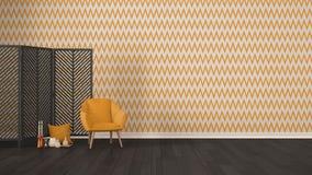 Scandinavian minimalist gray background with armchair, screen, c Stock Photos
