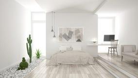 Scandinavian minimalist white bedroom with succulent garden, woo. Den floor and pebbles, hotel, spa, classic interior design Stock Images