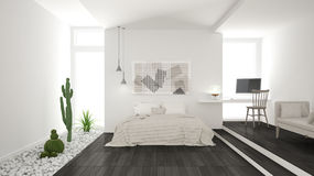 Scandinavian minimalist white and gray bedroom with succulent ga Stock Image