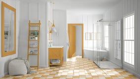 Scandinavian minimalist white and orange bathroom, shower, batht. Ub and decors, classic vintage interior design Stock Image