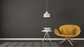 Scandinavian minimalistic background, orange armchair with table Stock Photo