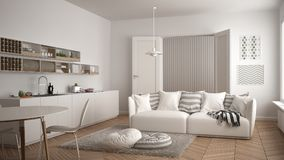Scandinavian modern living room with kitchen, dining table, sofa and rug with pillows, minimalist white architecture interior desi royalty free illustration