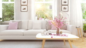 Scandinavian modern living room in townhouse. 3d rendering