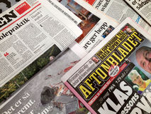 SCANDINAVIAN NEWS PAPERS Stock Photo