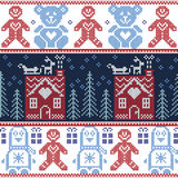 Scandinavian Nordic Christmas seamless pattern with ginger bread house, reindeer, snow, snowflakes, tree, Xmas ornament,  penguins Stock Image