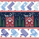 Scandinavian Nordic Christmas seamless pattern with ginger bread house, stockings, gloves, reindeer, snow, snowflakes, tree, Xmas Stock Photography
